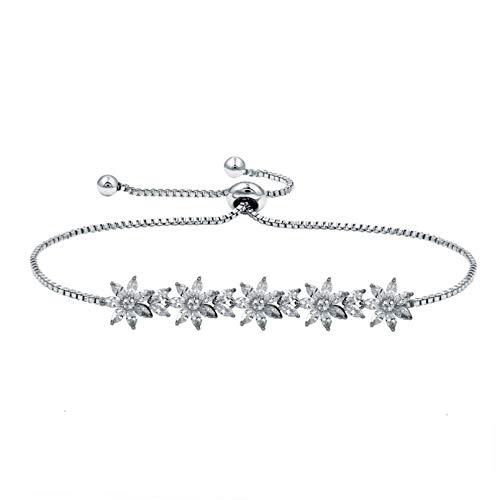 N/A Joyas de Pulsera Pulseras Allure Ajustables de Cristal de circonita cúbica para Mujer Regalo de cumpleaños de San Valentín