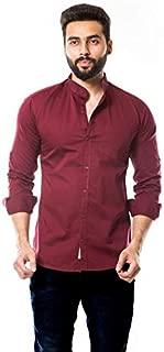 moudlin Solid Men's Mandarin Collar Casual Fullsleeve Shirt by Maruti Online