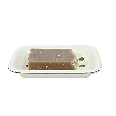 White Enameled Metal Soap Dish with Tray