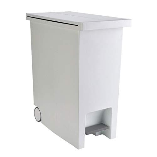 NYKK Nightstand/Small Tables Umweltfreundliches PP-Material Butterfly Cover Step-Abfalleimer, große Kapazität, mit Riemenscheibe, leicht zu bewegen (grauweiß) Accent Tables