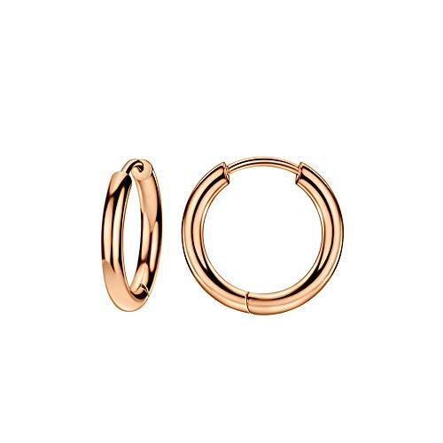 Rose Gold Plated 316L Surgical Steel Hinged Hoop Earrings for Women Small Huggie Hoop 10 Gauge Earrings 10mm Ear Lobe Piercing Jewelry 10g Mini Hoop Earrings