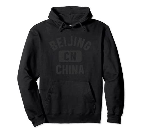 Beijing China Gym Style Black with Distressed Black Print Sudadera con Capucha