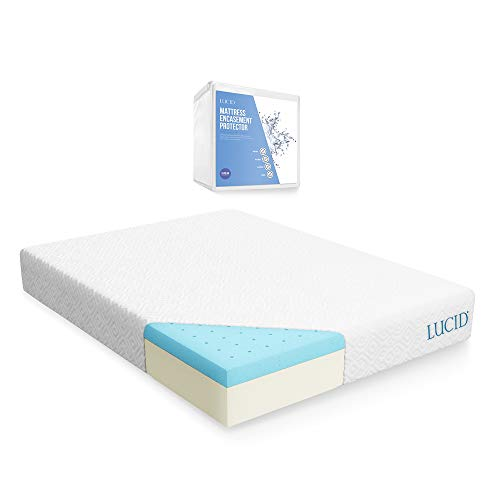 LUCID 10 Inch Gel Infused Memory Foam Mattress - Medium Plush Feel - CertiPUR-US Certified - 10 Year warranty - Queen with LUCID Encasement Mattress Protector - Queen