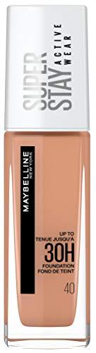 Maybelline New York Wasserfestes Make up, Foundation mit hoher Deckkraft, Langanhaltendes Gesichts-Make-up, Super Stay Active Wear, Farbe: Nr. 40 Fawn (Mittel), 1 x 30 ml