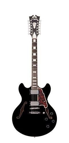 D'Angelico Premier  DC 12-String Semi-Hollow Electric Guitar - Black