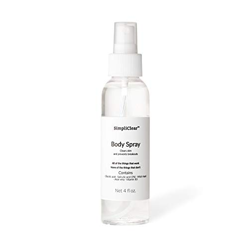 SimpliClear Body Spray: For Body Acne, Blemishes, and Breakouts + Ingrown Hairs, Razor Bumps and Burn, 4 oz
