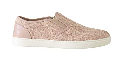 Dolce & Gabbana Pink Leather Lace Slip On Loafers Size 9.5