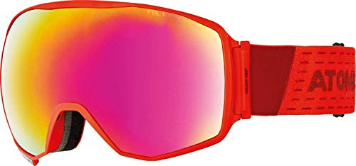 Atomic Unisex All Mountain-Skibrille Count 360° HD, für mäßiges bis starkes Licht, Large Fit, Sphärische FDL-Doppelscheibe, HD-Technologie, rot/rot HD, AN5105624