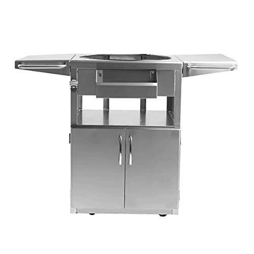 BBQGuys Signature Stainless Steel Grill Cart for 18-Inch Kamado Grill - Fits The Blaze Kamado, Big Green Egg Large, & Kamado Joe Classic - BBQ-KGC-SS