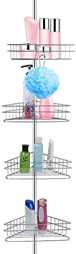 Telescopic Shower Storage Corner Shelf 4 Tier Adjustable Tension Shower Caddy Telescopic Stainless product image