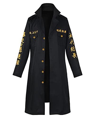 Anime Tokyo Revengers Tokyo Manji Gang President Manjiro Mikey Abrigo Capa Cosplay Disfraz Negro Hombre 3XL (pecho 122 cm)
