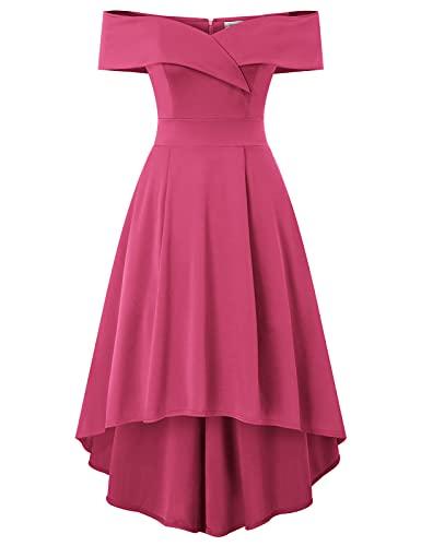 Jasambac - Abito da donna con spalle scoperte, linea bassa, per matrimoni, feste, cocktail, Rosso rosato, XL