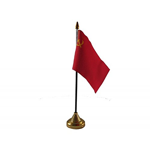 6 Stück, Hammer Und Sichel UDSSR Russland Russischen Sowjetunion Desktop Table Kopf Flagge Fahnen mit Gold Böden Ideal für Das Büro, Für Konferenzen Display