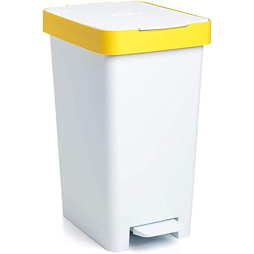 Tatay Cubo de Basura para Reciclaje, Blanco y Amarillo, Mediano