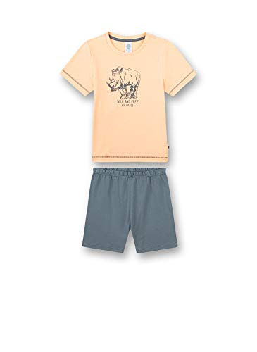 Sanetta Jungen Schlafanzug kurz rosa Pyjamaset, neon Melon, 140