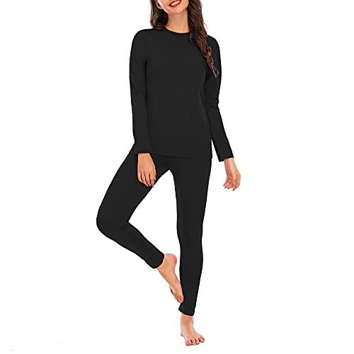 Ropa interior térmica para mujer con forro polar para mujer, capa base larga, parte superior suave, Negro, XXL