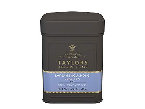 Taylors von Harrogate Lapsang Souchong Blatt Tee Ein chinesischer Tee mit dem Rauch von Holzbränden / Chinese Black Tea in Loose Leaf konserviert in Metall duftend mit Holz Burning Smoke - 1 x 125 Gramm