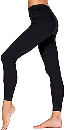 ITALIAN ENDURANCE Leggings de mujer ligeros de suave microfibra para fitness, yoga, gimnasio, baile y tiempo libre, no transparentes y opacos 1 par negro. Small-Medium