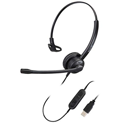 USB Headset mit Mikrofon Noise Cancelling Mono,PC Headset Overear für Computer Laptop Büro CallCenter Homeoffice Business Softphone Skype Chat Telefon Konferenz Webinar Dragon Spracherkennung