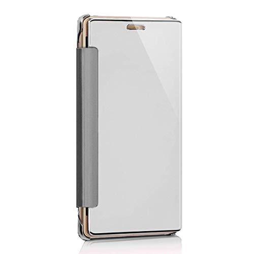 kompatibel mit OnePlus 3 Hülle,OnePlus 3T Lederhülle,Überzug Mirror Strass Spiegel Hülle OnePlus 3 / OnePlus 3T Tasche Leder Flip Cover Brieftasche Etui Schutzhülle für OnePlus 3 / OnePlus 3T (Silber)