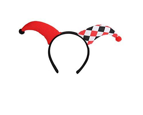 KarnevalsTeufel Haarreif Pierrot, Accessoire, Harlekin-Kopfbedeckung, rot-weiß-schwarz