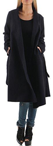malito Damen Mantel lang mit Wasserfall-Schnitt | Trenchcoat mit Gürtel | weicher Dufflecoat | Parka - Jacke 3050 (dunkelblau)