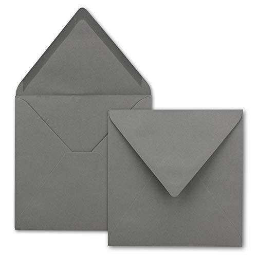 Sobres cuadrados sin ventana en antracita – gris oscuro – 75 unidades – 15,5 x 15,5 cm – Pegado húmedo – Para tarjetas de boda, tarjetas de invitación y más – Serie FarbenFroh®