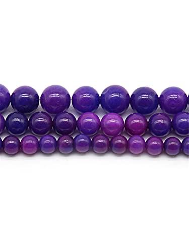 Piedra natural púrpura oscuro calcedonia jades piedra redonda cuentas sueltas para hacer joyas DIY pulsera collar 15 pulgadas 6/8/10 mm púrpura oscuro 6 mm aproximadamente 63 cuentas
