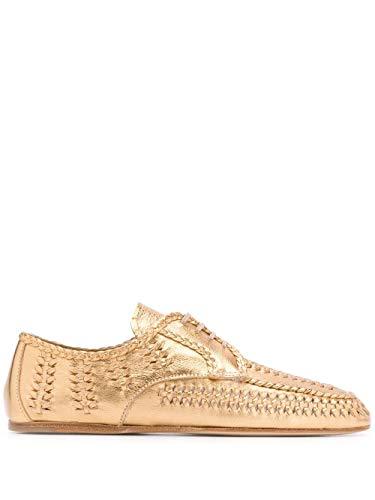 Prada Luxury Fashion Damen 1E177MF005XQLF0522 Gold Leder Schnürschuhe | Frühling Sommer 20