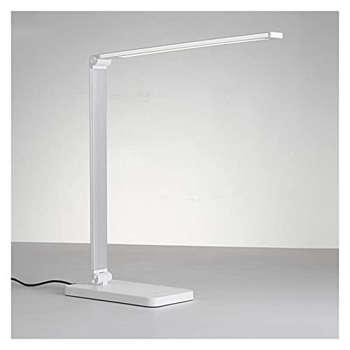 Lámpara Escritorio LED Lámpara de Aprendizaje Plegable Lámpara de Escritorio LED Regulable con Puerto de Carga USB 3 Modos de Color Luz de Lectura con Carga de teléfono inalámbrico Lámpara de Lectura