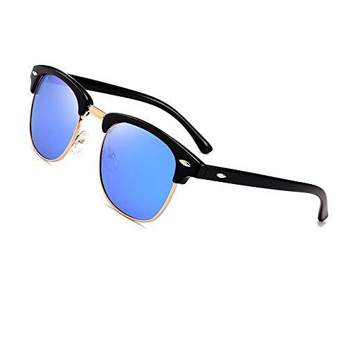 Natuwe&Co Zonnebril, klassiek, halfrond frame, gepolariseerd, half randloze zonnebril, vrouwen, mannen, retro zonnebril