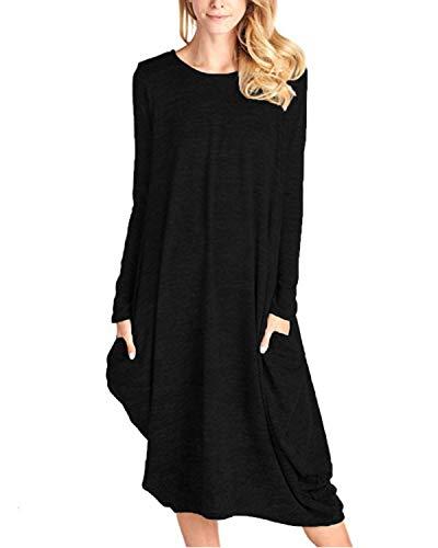 CNFIO - Vestido de manga larga para mujer, de estilo informal, asimétrico, holgado, extragrande y con bolsillos