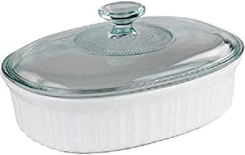 Corningware French White 2.5-Quart Oval Baking Dish with Glass Lid and plastic lid