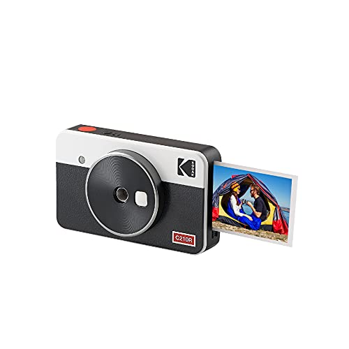 Kodak Mini Shot 2 Retro, cámara instantánea portátil e Impresora fotográfica, iOS y Android, Bluetooth, tecnología 4Pass, 54 x 86 mm, Color Blanco - 8 Hojas