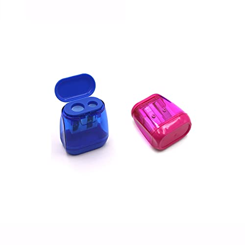 2 Pieces of Kyweel Manual Pencil Sharpener, Double-Hole Color Prism Pencil Sharpener with Lid, Children and Adult Color Pencil Sharpeners, Suitable for Schools, Offices, Homes, Etc.