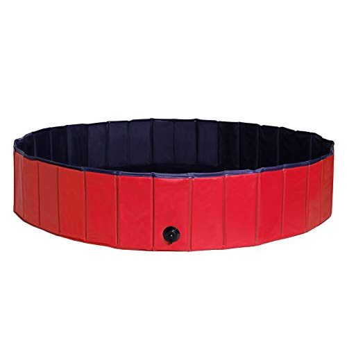 Dibea PVC, Piscina para Mascotas, Bañera Plegable para Perros, Ø 160 Cm, Rojo/Azul Oscuro, L