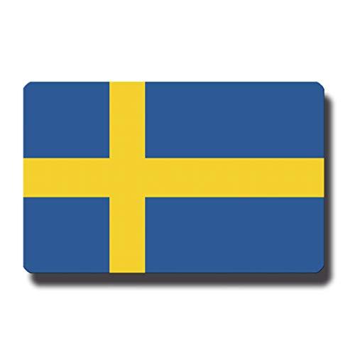 Kühlschrankmagnet Flagge Schweden - 85x55 mm - Metall Magnet mit Motiv Länderflagge für Kühlschrank Reise Souvenir
