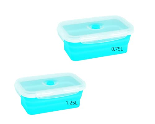 ELMA Juego de 2 Recipientes Almacenamiento de Alimentos, 0,75L y 1,25L, Tuppers de silicona apilables y plegables, Color Azul, Alimentos al Vacío