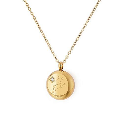 Qings Collar 12 Constelaciones León Collar Colgantes Signos Zodíaco Horóscopo Astrológicos Medalla Redonda Acero Titanio Chapado en Oro Collar Regalo de Cumpleaños para Mujer Niñas