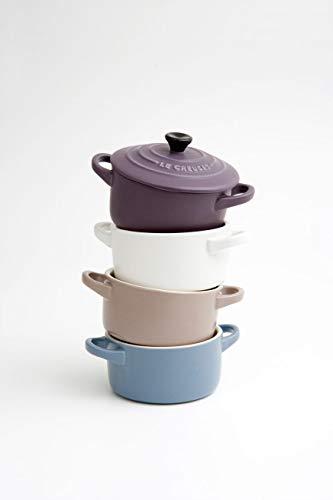 Le Creuset Set de mini cocottes, 4 unidades, Redondas, 200 ml cada una, 10 x 5 cm, Cerámica de gres, Azul y Rosa y Blanco y Violeta