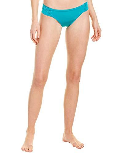 Trina Turk Women's Shirred Side Hipster Pant Bikini Swimsuit Bottom, Jade//Getaway Solids, 6