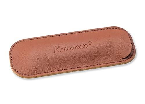Kaweco Eco Brandy Leder Etui I Stifte Etui für 2 Lilliput Pens I Schreibetui aus echtem Leder mit schöner Prägung I schicke und klassische Stifttasche I Stiftetui 15 x 2,5 x 2,5 cm in braun