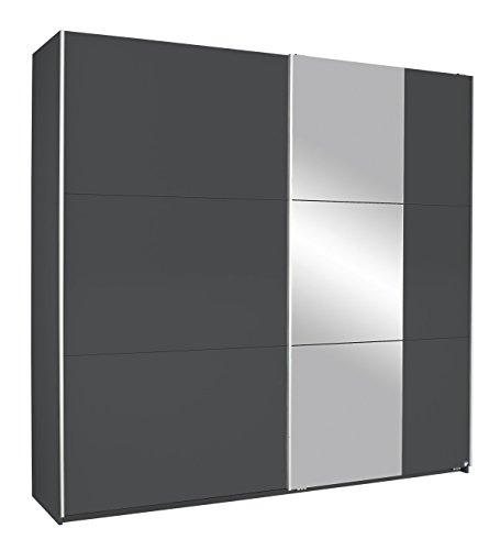 Rauch Möbel Kronach Schrank Schwebetürenschrank, 2-türig, Grau Metallic mit 1 Spiegel, inkl. Zubehörpaket Basic 2 Kleiderstangen 2 Einlegeböden, BxHxT 218x210x59 cm