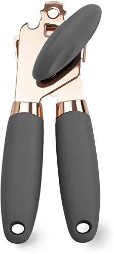 Crethink Apriscatole manuale in acciaio inossidabile oro rosa con manici antiscivolo neri resistenti e grande manopola con apribottiglie integrato (grigio)