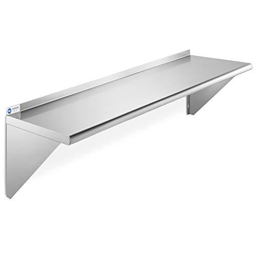 "GRIDMANN NSF Stainless Steel 12"" x 48"" Kitchen Wall Mount Shelf Commercial Restaurant Bar w/ Backsplash"