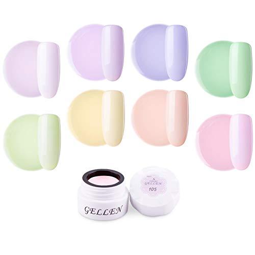 Gellen カラージェル 8色 セット[マカロン]高品質 5g ジェルネイル カラー ネイルブラシ付き