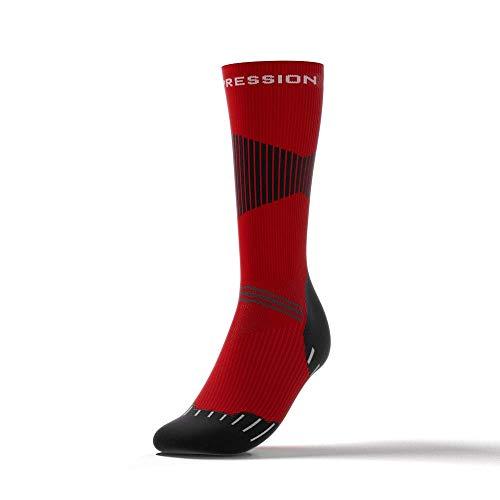 Active Compression Patines Nordic Race Socks–Calcetines de esquí de fondo/ocke con compresión–Rojo/Negro