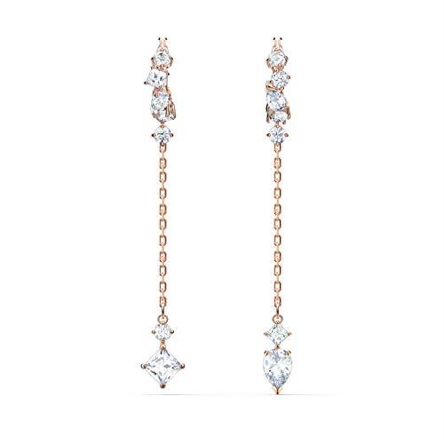 Swarovski Attract Ohrringe, Rosé Vergoldeter Ohrschmuck mit Funkelnden, Weißen Swarovski Kristallen und Abnehmbarem Schwingelement