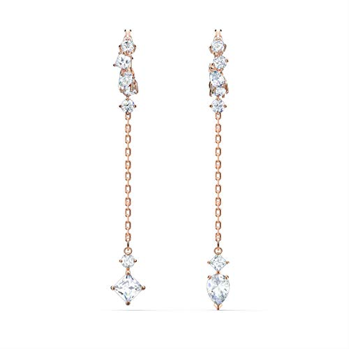 Swarovski Attract Dangling Earrings with White Crystals and Rose-Gold Tone Plated Chains, Women's Pierced Earrings, a Part of the Attract Collection