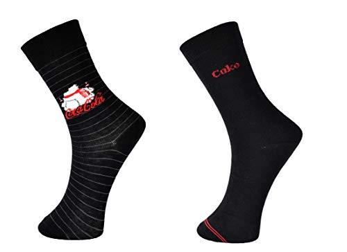 Coca-Cola 6 Paar süße Socken mit Eisbär Motiv Schriftzug in Schwarz in Größe 37-41,